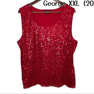 George Red Sequined Sleeveless Shell XXL (20)